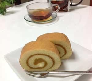 くりまさるを使用したロールケーキ「くりまさロール」の写真