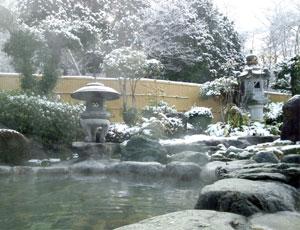 雪化粧をした露天風呂の写真
