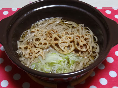 料理したレンコン麺の写真