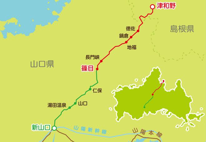SL「やまぐち」号路線図