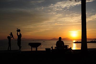 焼野海岸の夕景の写真