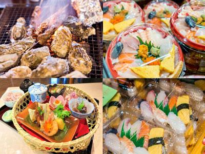 潮彩市場防府の食事の写真